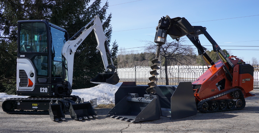 Compact excavator and Ski-steer loader, F. Bourdage Construction